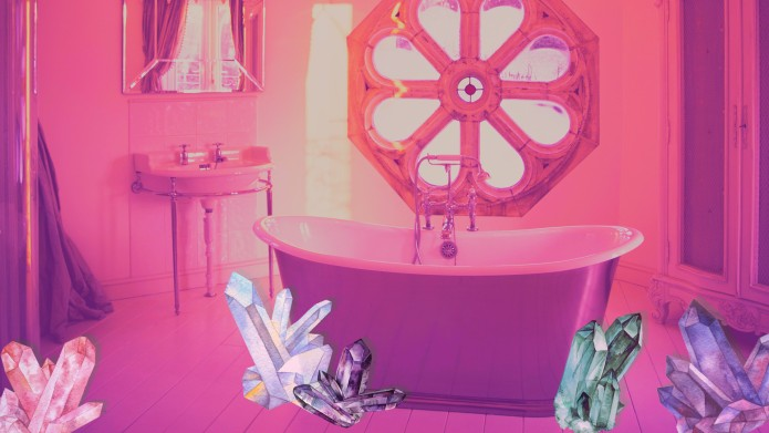 Bathtub with crystals self care