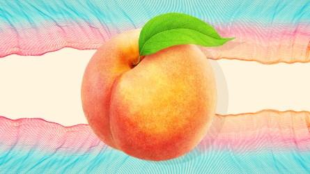 peach emoji on a striped background