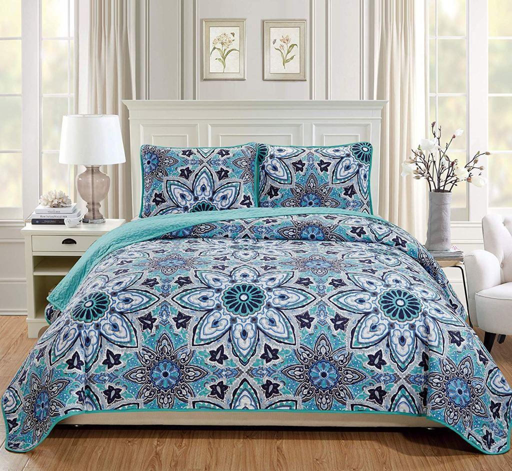 Cute Twin XL Bedding: Fancy Linen Tuquoise 3-Piece Quilt Set