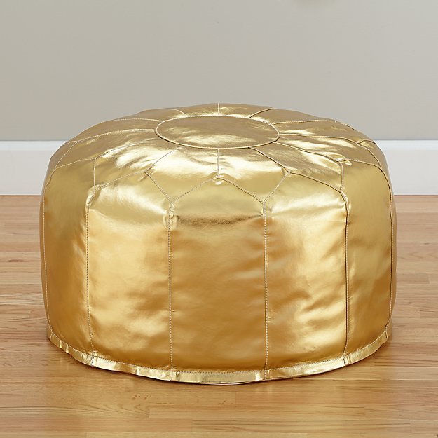Christina Anstead Nursery: Faux Leather Gold Pouf