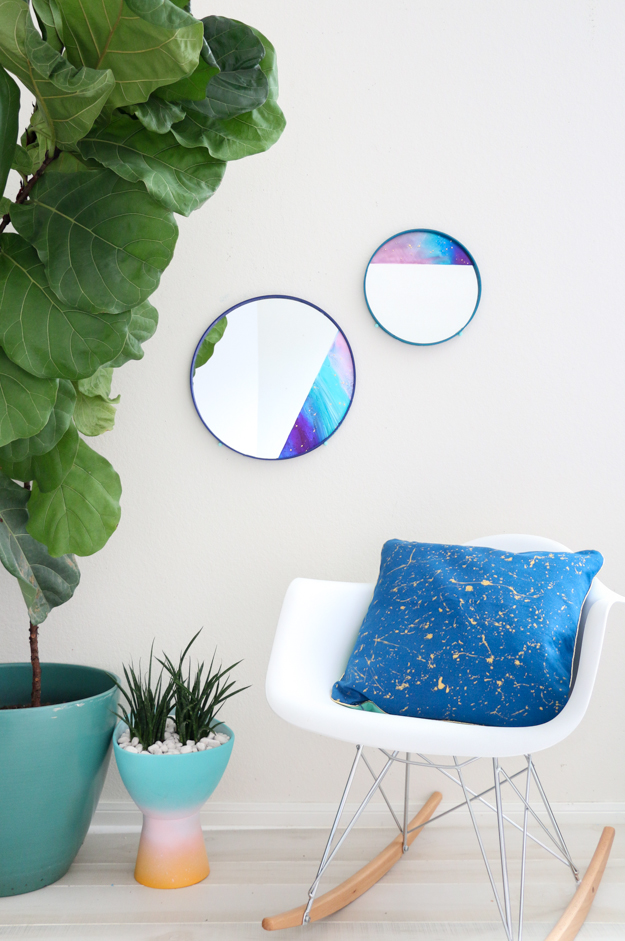 Color Blocked Galaxy Mirrors