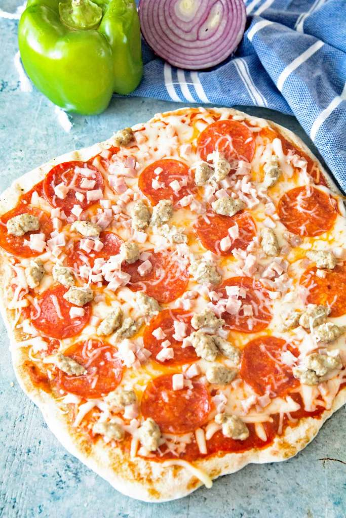 Grilled Pizza Recipes: Grilled 3-Meat Pizza