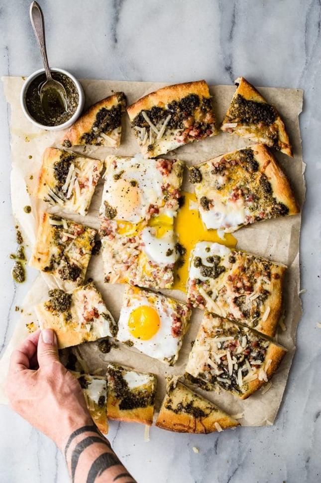Grilled Pizza Recipes: Grilled Pesto Pancetta Flatbread