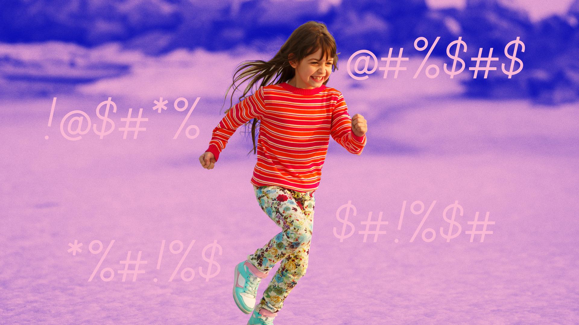 Girl running and swearing