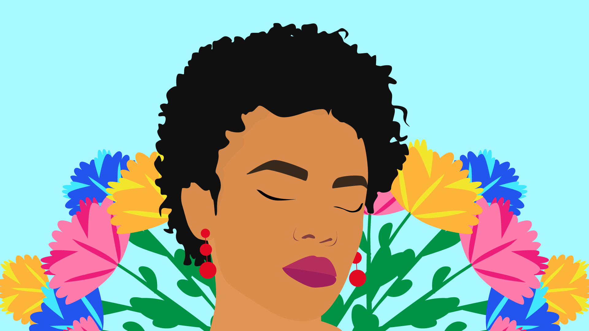 solitude Black woman with flowers