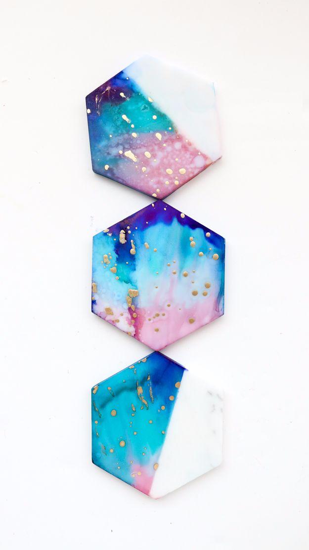 Color blocked galaxy coasters