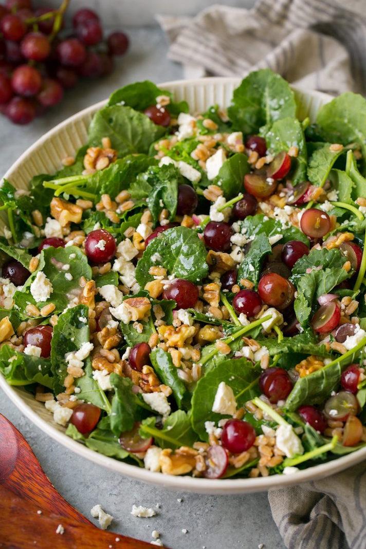 Kale, Grape, and Farro Salad With Feta and White Wine Vinaigrette
