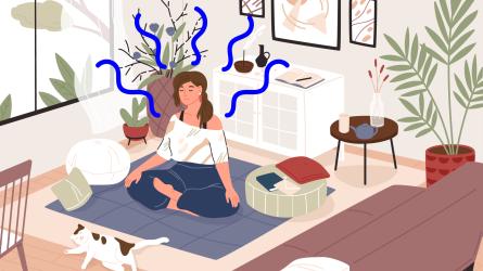 Illustration of a woman meditating