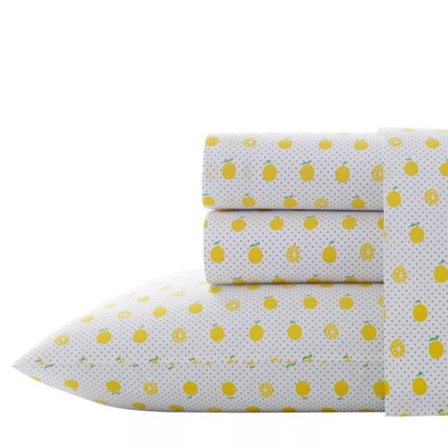 Cute Twin XL Bedding: Poppy & Fritz Printed Pattern Percale Cotton Sheet Set