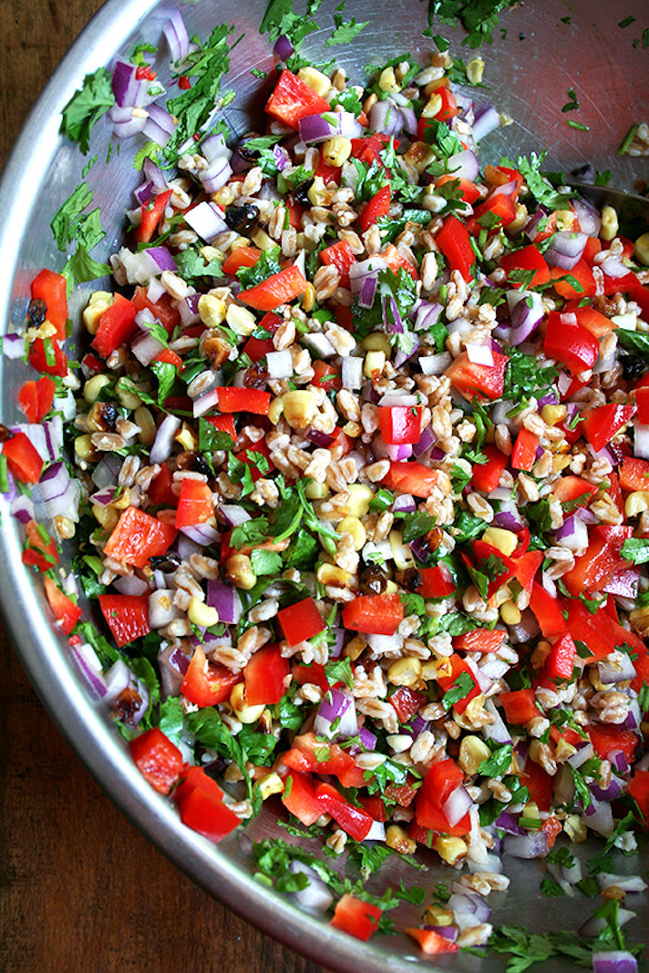 Farro Salad With Roasted Corn, Red Peppers, and Onions