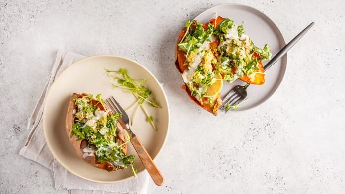 Quinoa Stuffed Sweet Potatoes with Kale