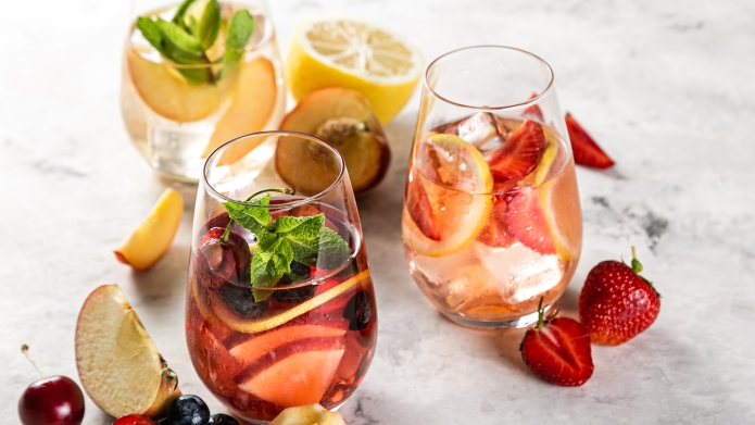 Selection of sangrias - red, pink,