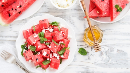 Summer salad of watermelon, feta cheese