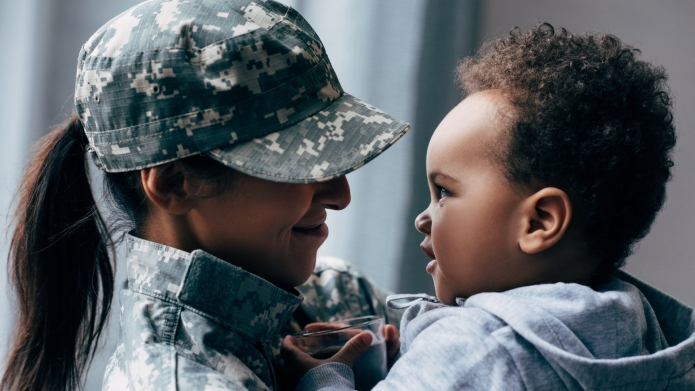 african american mother in military uniform