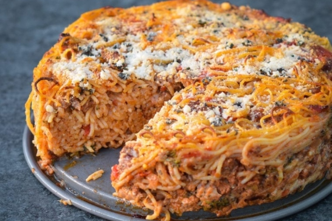 Gail Simmons' epic spaghetti pie by Once Upon a Chef.