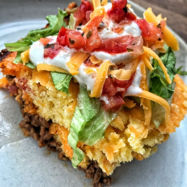 Taco pie recipe by The Tipsy Housewife.