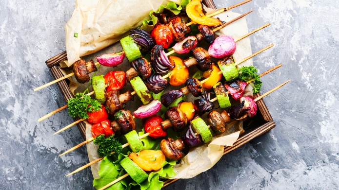 Grilled vegetable kebabs on skewers with