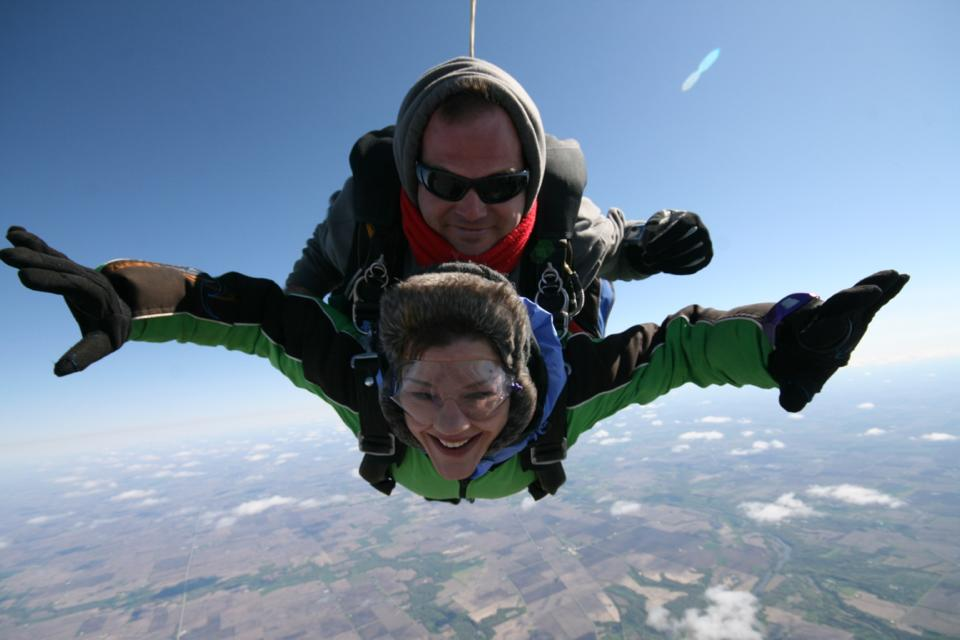 The author skydiving, image courtesy of Wendy Altschuler.