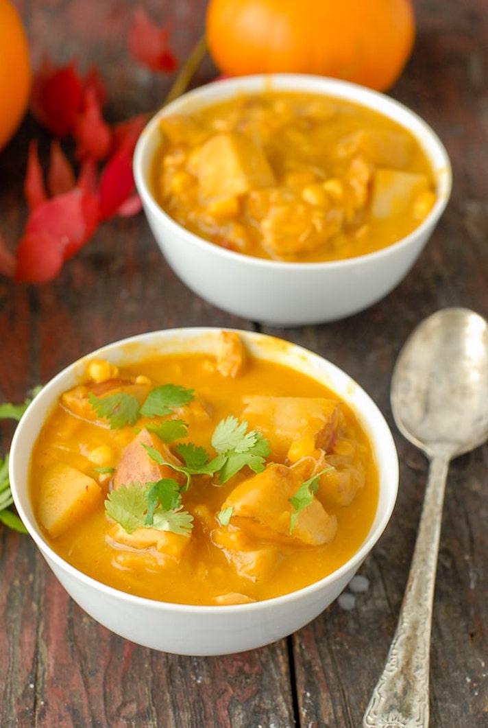 Spicy Pumpkin Chicken Corn Chowder