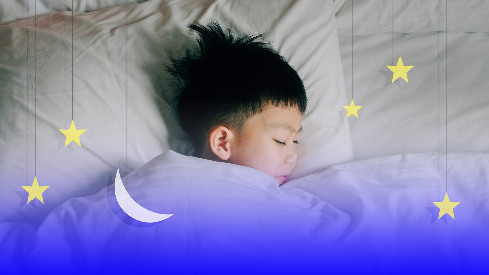 Asian boy sleeping with moon and stars filter
