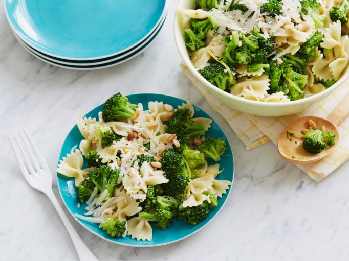 Ina Garten broccoli with bow ties & peas