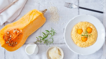 Pumpkin risotto with pickled pumpkin in