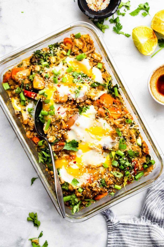 Easy Freezer Meals: Cauliflower Fried Rice Casserole