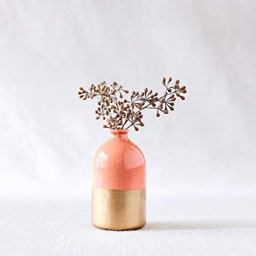 Porcelain bud vase coral and gold