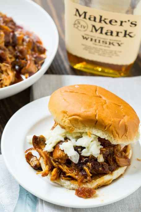 Bourbon Barbecue Pulled Chicken Sandwiches