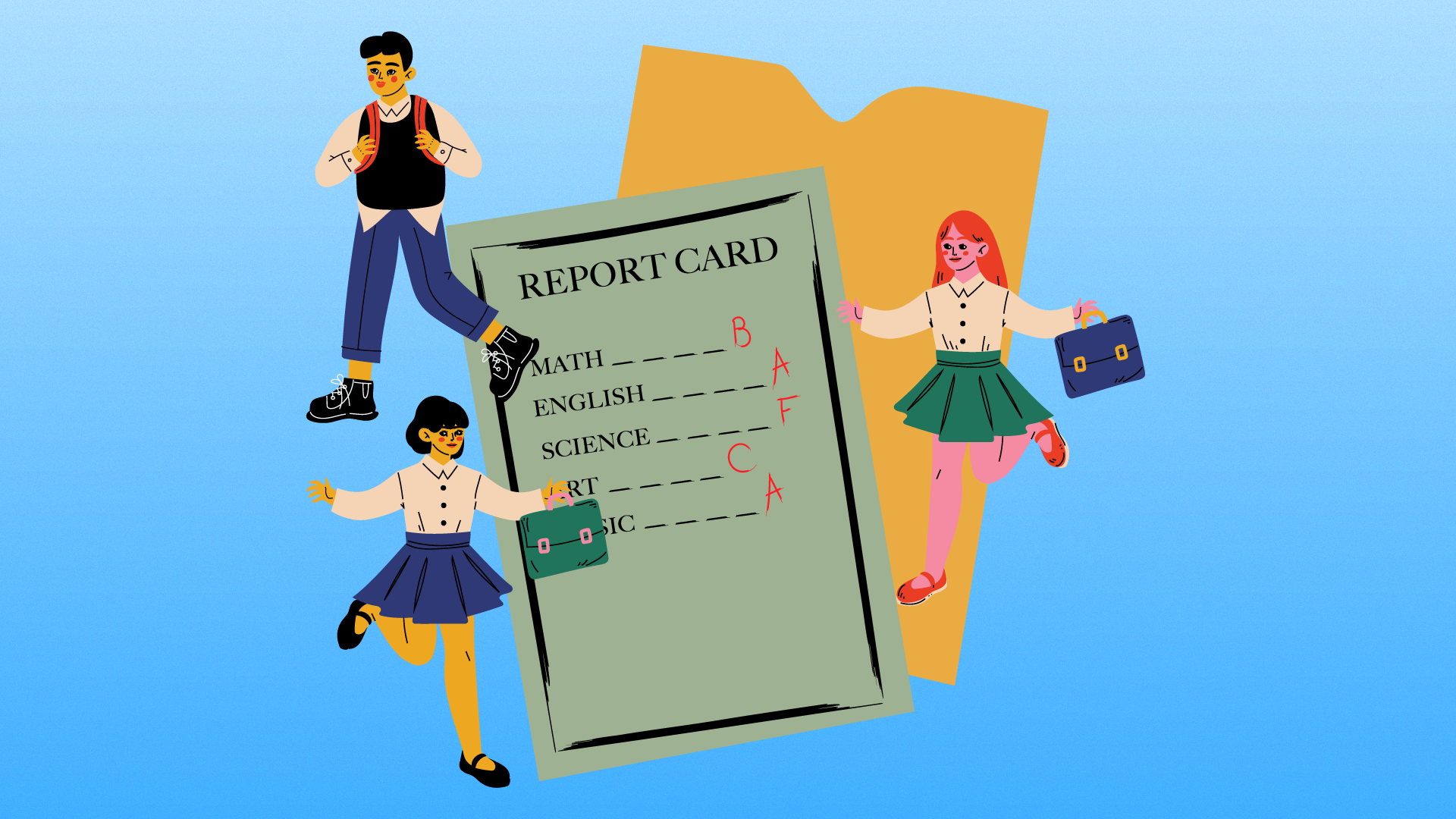 Kids and grades report card