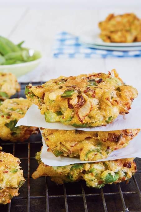 Fried okra cakes
