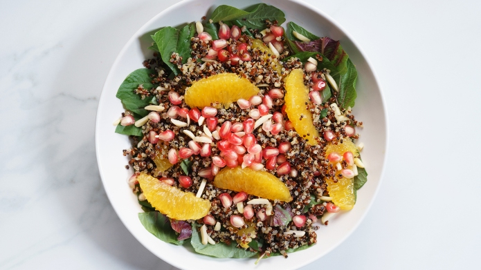 quinoa salad with fresh pomegranate and
