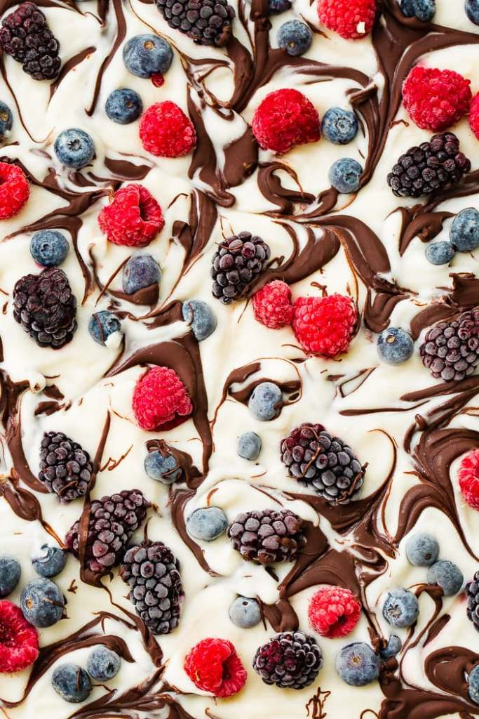 Healthy Chocolate Swirl Yogurt Berry Bark