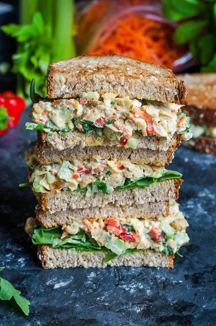 Garden Veggie Chickpea Salad Sandwich