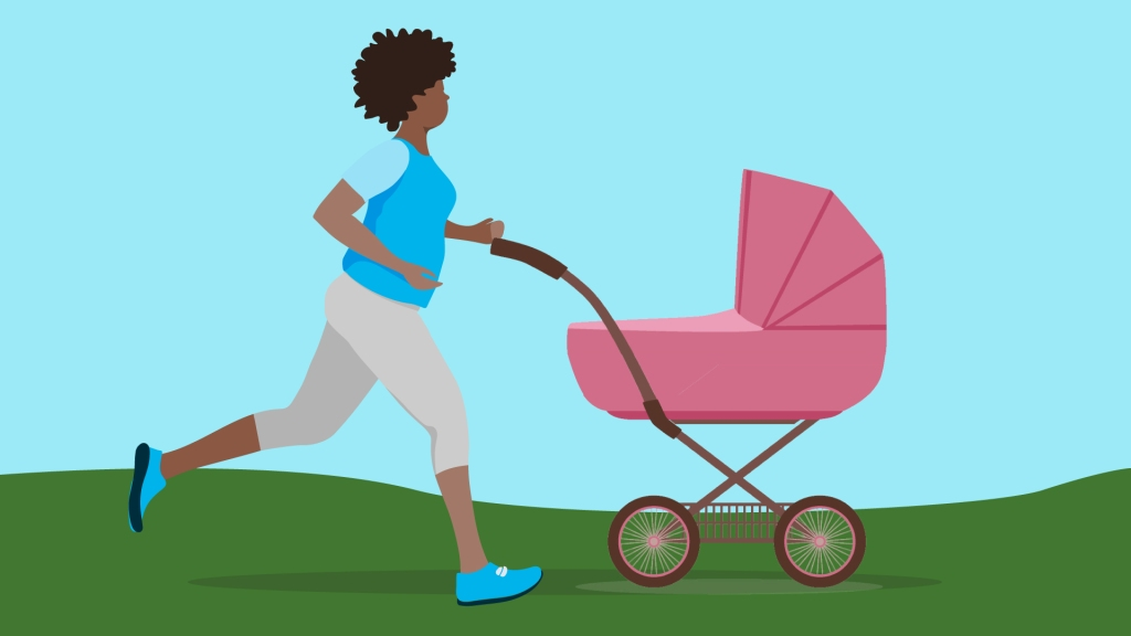 Illustration of woman jogging and pushing