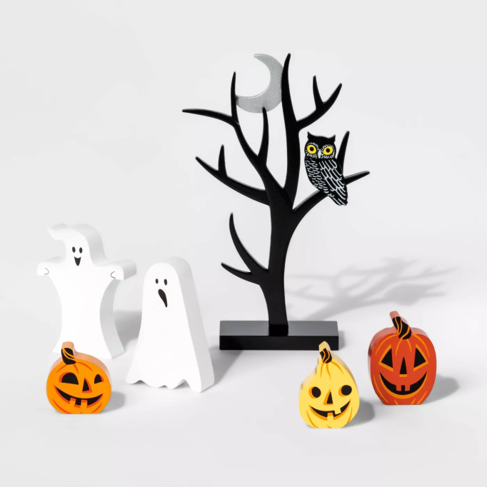 Mini Mantle Pumpkin and Ghost Halloween Accessory Set