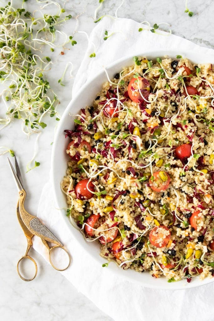 Summer Meatless Monday Recipes: Fruit and Nut Quinoa Salad with Tomatoes, Radicchio, and Pistachios