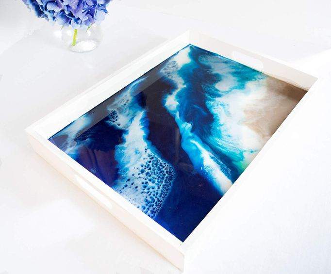 Serving tray platter with epoxy resin