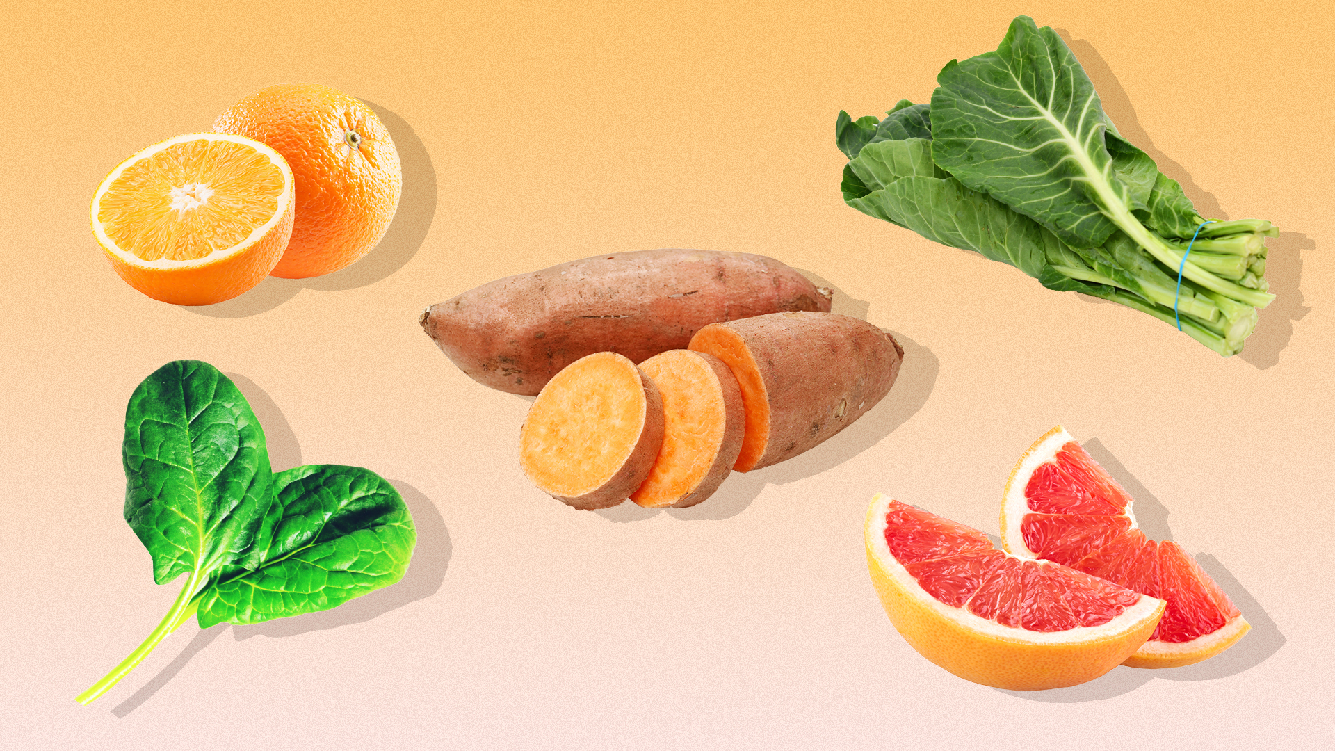 Fruits and vegetables on a peach-colored background