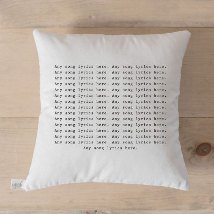 Personalized song lyric throw pillow