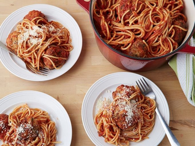 Ina Garten spicy turkey meatballs and spaghetti