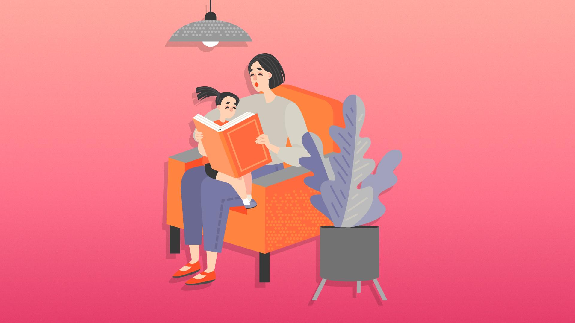 Mom reading to child