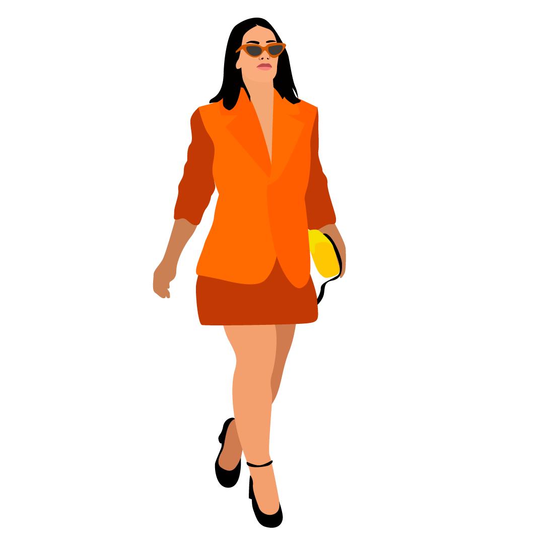 Woman in suit and heels