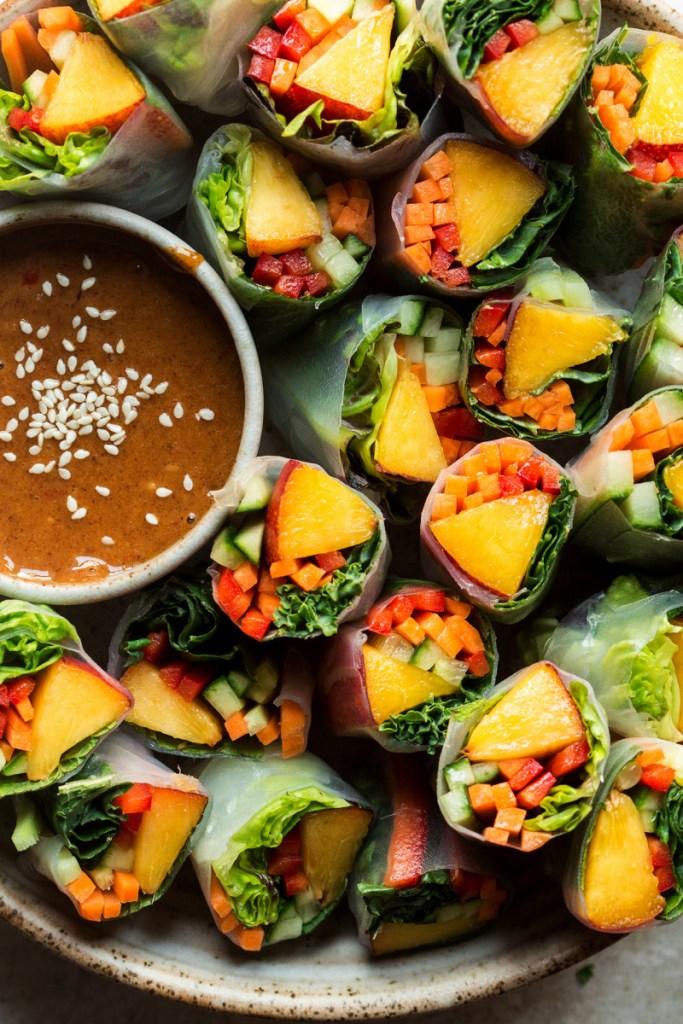 Summer Meatless Monday Recipes: Vegan Nectarine Summer Rolls with Almond Sauce