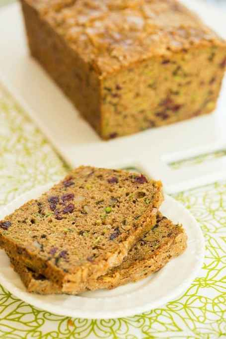 Spiced Zucchini Bread With Walnuts & Dried Cranberries