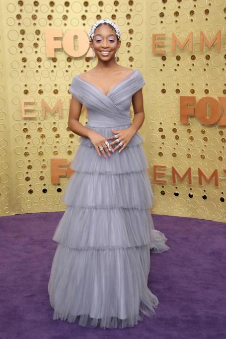 Eris Baker71st Annual Primetime Emmy Awards, Arrivals, Microsoft Theatre, Los Angeles, USA - 22 Sep 2019Wearing Tadashi Shoji same outfit as catwalk model *10096455ag