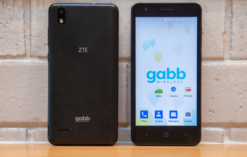 Two Gabb Z1 ZTE phones depicting both the front and back of the model
