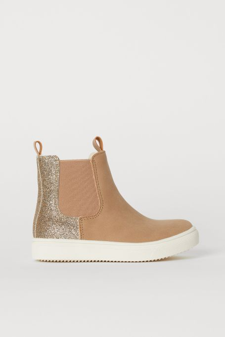 Fall kids' shoes 2019 H&M warm-lined Chelsea boots in beige and glitter
