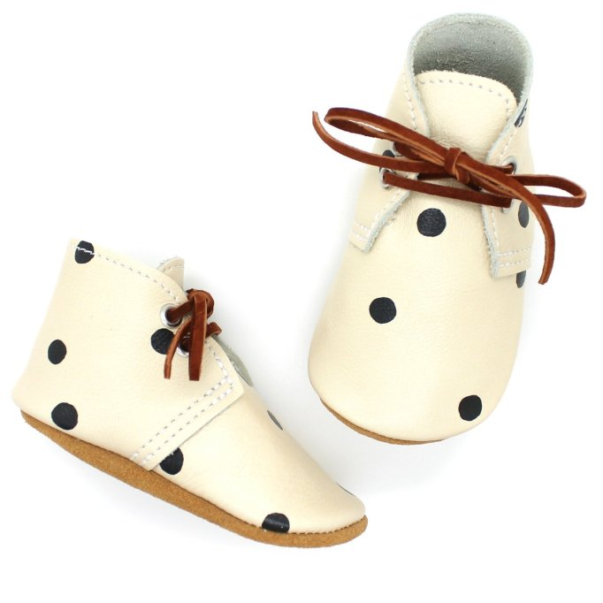 Fall 2019 kids' shoes Mon Petit Shoes x Rylee and Cru polka dot Oxfords