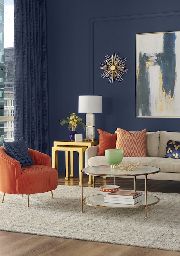 Sherwin-Williams Naval living room